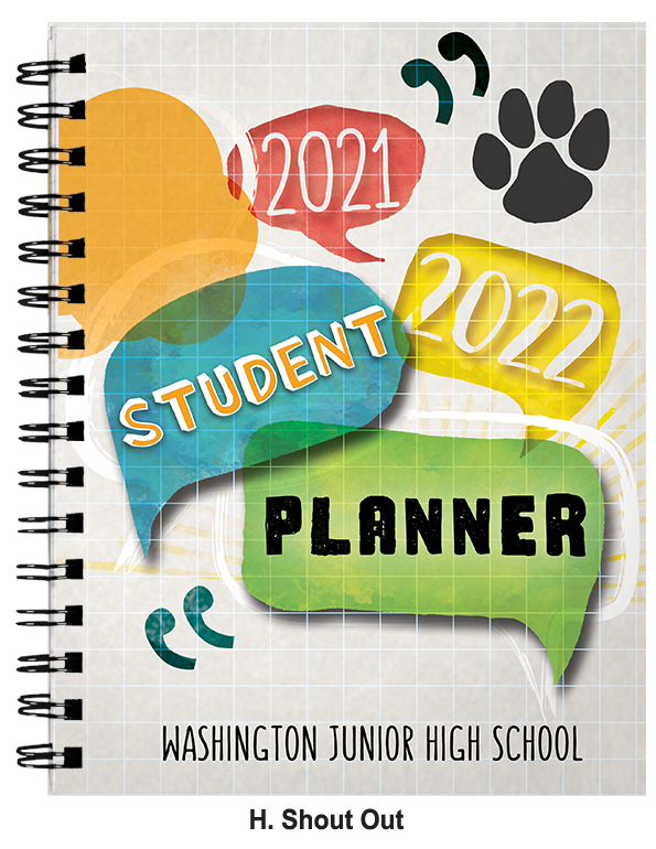 An example of a planner cover with colorful text bubble graphics that spell out
